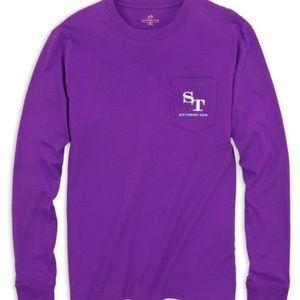 Southern Tide   Purple Outline Pocket Shirt M